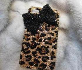  Bling Bow Iphone 4 case, Iphone 4S case, Leopard Iphone 4 Case, Leopard Iphone 4S Case, Bowknot Iphone Case