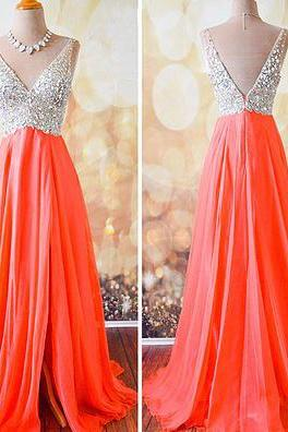 Prom Gown A-line V-neck Prom Dress,Orange Chiffon Skirt Beaded Bodice Long 2016