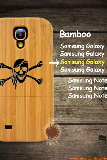 Cool Skull Samsung galaxy S6 S5 S4 S3 wood case, Laser Engraved wooden Samsung Galaxy Note 4/3/2 phone case Bamboo cherry walnut S4074