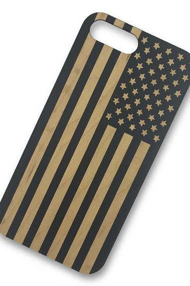 Black Painted Wood American Flag USA Design - American Symbol Laser Engraved on Wood phone Case for iPhone 7/7s PLUS