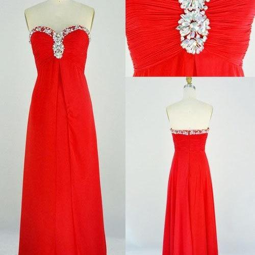 Pretty Red Sweetheart Chiffon Beadings Prom Dresses 2015, Red Formal Dresses, Evening Dresses , Red Prom Dresses