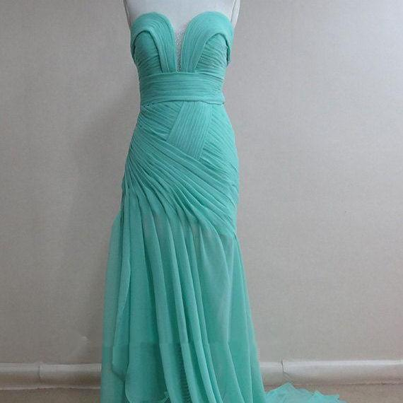 Pretty Blue Handmade Chiffon Long Prom Gown 2015, Formal Gown, Evening Dresses , Blue Prom Dresses