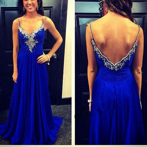 Pretty Blue Spaghetti Straps Full Floor Length Prom Dress 2015, Evening Gowns, Formal Gowns, Prom Gowns